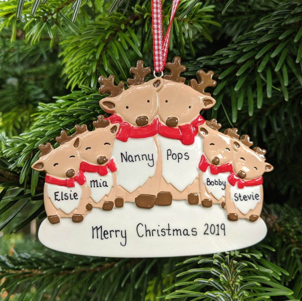 Personalised Reindeer Family of 6  Christmas Tree Decoration